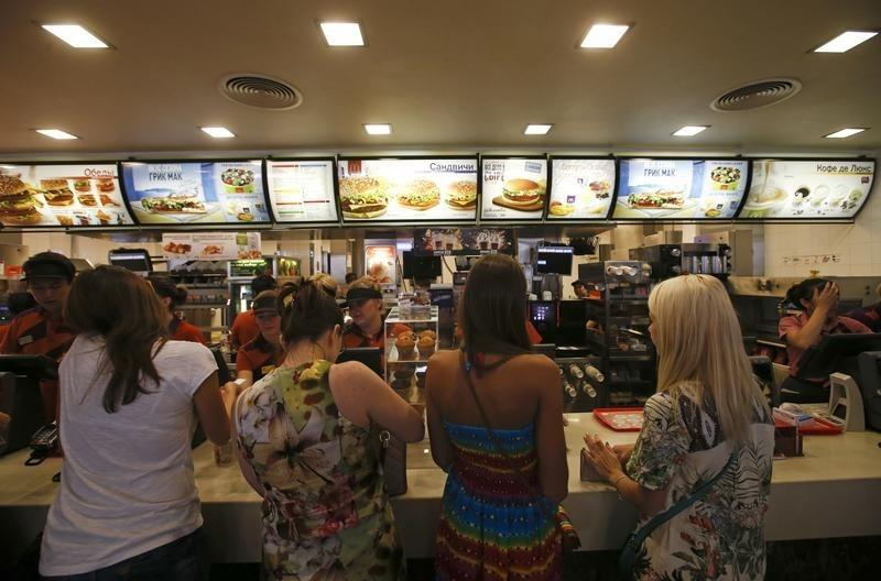 Customers visit a McDonald's restaurant in Moscow