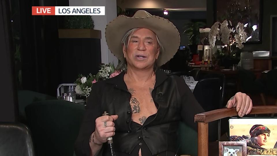 Mickey Rourke confused fans when he gave a cringe-worthy interview from his LA home on 'Good Morning Britain'. (Credit: ITV)