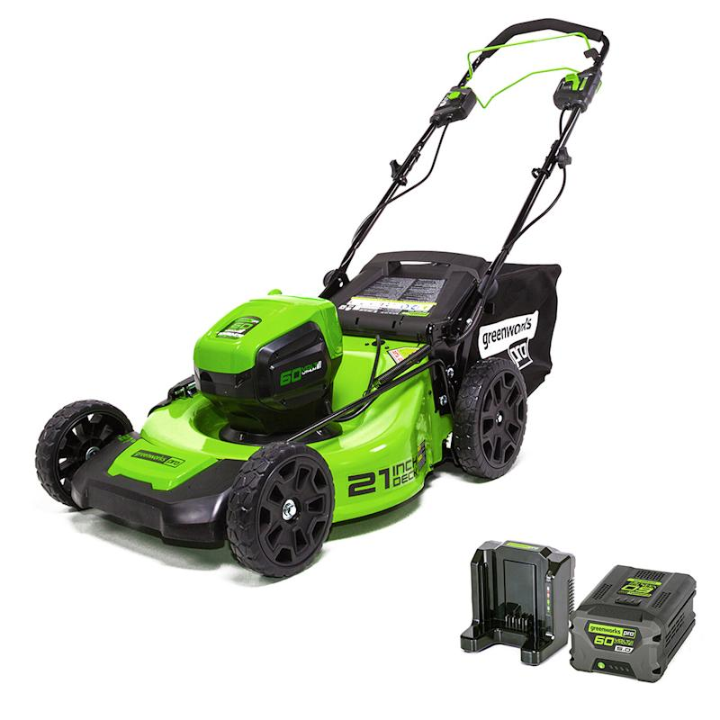 Green and black self-propelled electric lawn mower from Greenworks