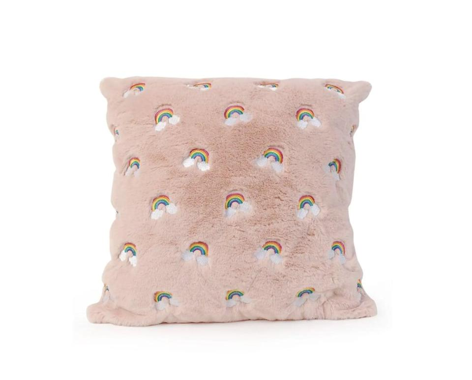 <p>Pink lovers will adore this <span>OMG Rainbow Embroidered Fluffy Pillow</span> ($50).</p>