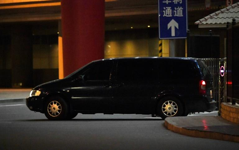 A North Korean embassy car carrying North Korean officials who had just arrived from Malaysia, leaves from the VIP entrance at Beijing airport