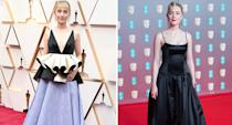 Not only did Ronan wear a Gucci gown made from recycled satin for the BAFTAS, she then wore a peplum gown made from some of the same material for the Oscars. (Getty Images)