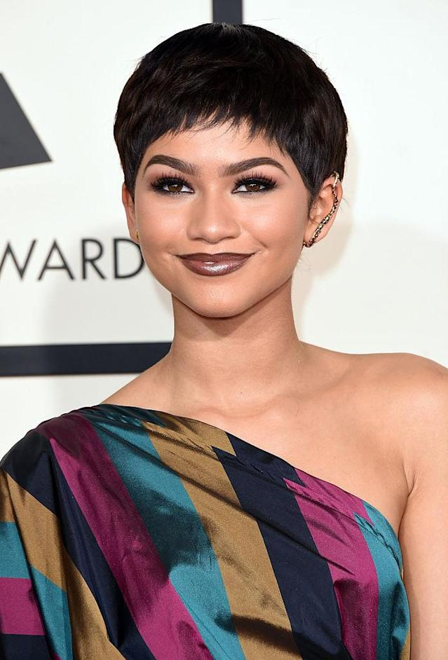 <p>During the 57th Annual Grammy Awards, Zendaya stunned with a faboulous wispy pixie. (Photo: Getty) </p>