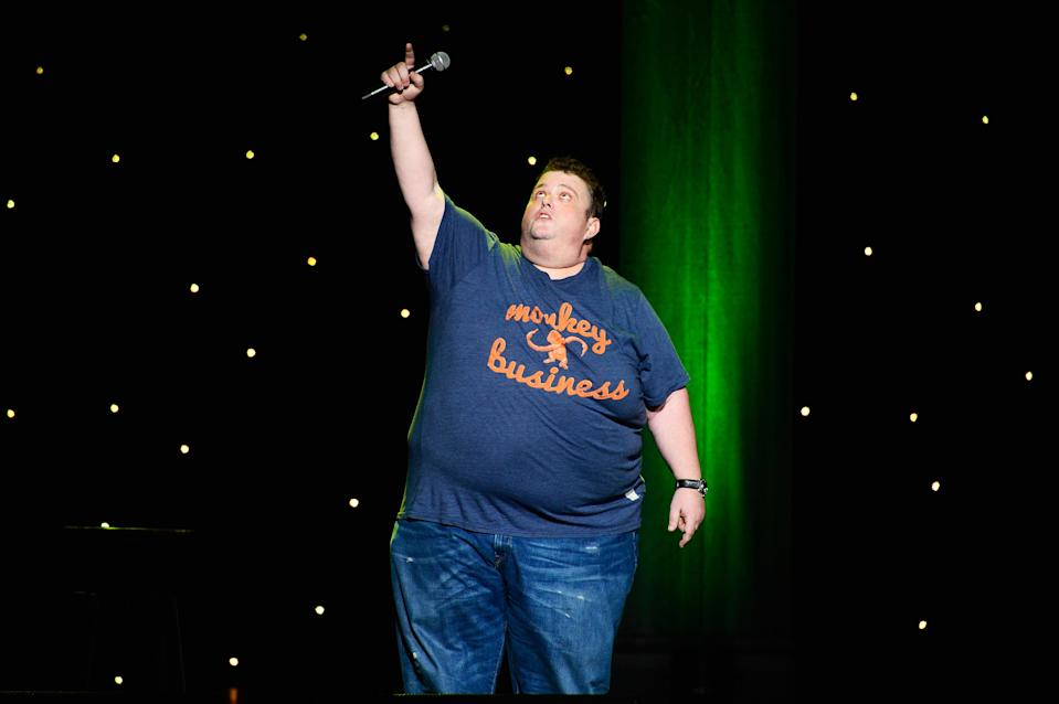 """<p>The 45-year-old standup comedian <a rel=""""nofollow"""" href=""""https://www.yahoo.com/entertainment/ralphie-may-stand-comic-last-212328518.html"""" data-ylk=""""slk:died;outcm:mb_qualified_link;_E:mb_qualified_link;ct:story;"""" class=""""link rapid-noclick-resp yahoo-link"""">died</a> after suffering cardiac arrest on Oct. 6. May, who launched his career on NBC's <i>Last Comic Standing</i> in 2003, """"had been battling pneumonia and had canceled a handful of dates over the last month in an effort to recover,"""" his publicist, Stacey Pokluda, said in a statement. During his all-too-short career, the comedian appeared on <i>The Tonight Show With Jay Leno</i>, <i>The Wayne Brady Show</i>, and many others. (Photo: Getty Images) </p>"""