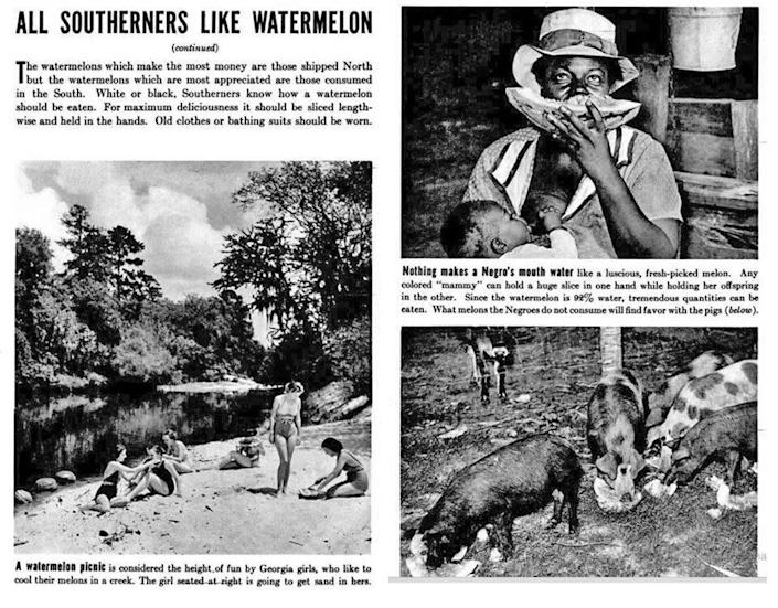 "A caption in the 1937 Life cover story reads: ""Nothing makes a Negro's mouth water like a luscious, fresh-picked melon. Any colored 'mammay' can hold a huge slice in one hand while holding her offspring in the other."" (Photo: LIFE)"
