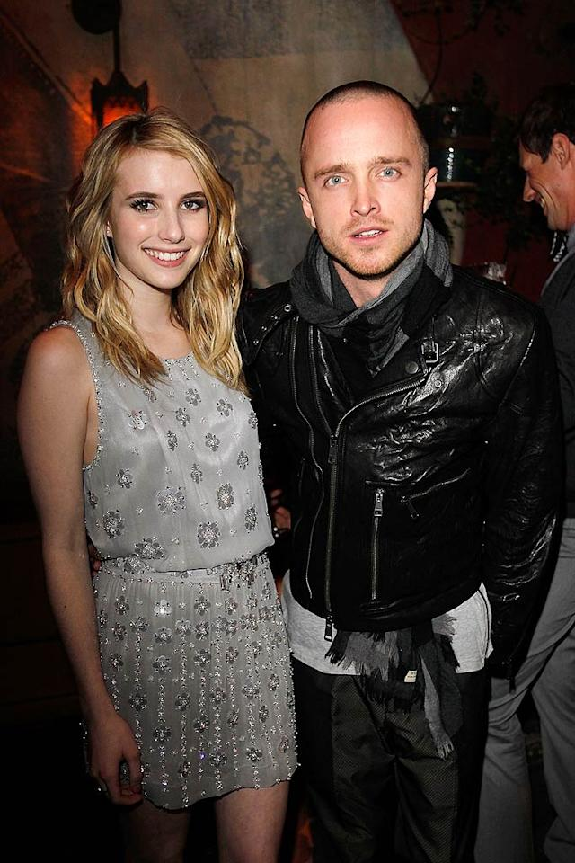 "Young Hollywood up-and-comer Emma Roberts, who was sporting a gorgeous grey crystal-encrusted Jenny Packham dress, and ""Breaking Bad's"" Aaron Paul were all smiles. Donato Sardella/<a href=""http://www.gettyimages.com/"" target=""new"">GettyImages.com</a> - February 24, 2011"