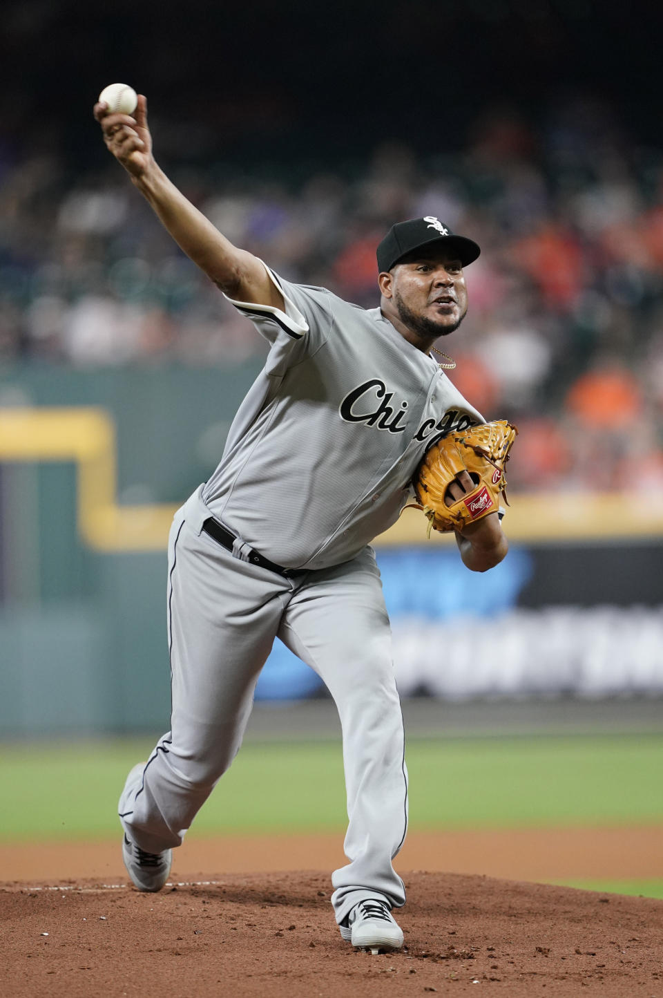 Chicago White Sox starting pitcher Ivan Nova throws during the first inning of the team's baseball game against the Houston Astros Wednesday, May 22, 2019, in Houston. (AP Photo/David J. Phillip)