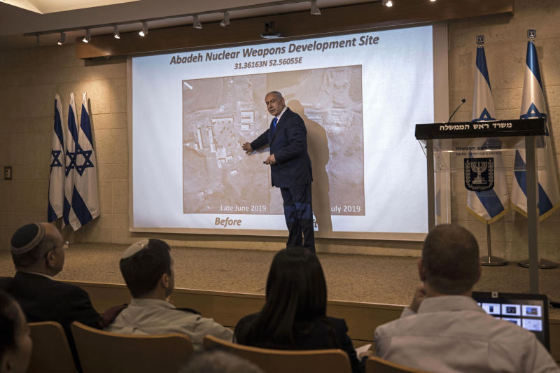 Israeli Prime Minister Benjamin Netanyahu, speaks during a press conference at the foreign ministry in Jerusalem, Monday, Sept. 9, 2019. Netanyahu on Monday unveiled what he said was a previously undisclosed Iranian nuclear weapons site, further escalating a showdown between the two enemy countries. (AP Photo/Tsafrir Abayov)