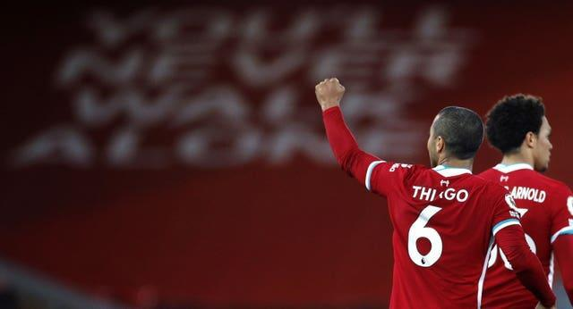 Thiago celebrated his first Liverpool goal late on