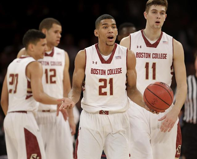 Boston College's Olivier Hanlan reacts during the first half of an NCAA college basketball game against Connecticut, Thursday, Nov. 21, 2013, in New York. (AP Photo/Seth Wenig)