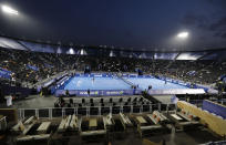 In this Friday, Dec. 13, 2019 photo, General view showing the tennis court at the Diriyah touristic site, in Riyadh Saudi Arabia, as Italian Fabio Fognini, left, plays with French Gael Sebastien Monfils. Prince Abdulaziz bin Turki al-Faisal, who leads the General Sports Authority, said during an interview with the Associated Press that he invites anyone who's interested or curious about Saudi Arabia to come and visit the country after it opened tourist visas to people from around the world three months ago. (AP Photo/Amr Nabil)