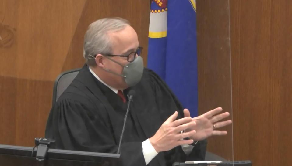 In this screen grab from video, Hennepin County Judge Peter Cahill presides over jury selection, Tuesday, March 23, 2021, in the trial of former Minneapolis police officer Derek Chauvin at the Hennepin County Courthouse in Minneapolis, Minn. Chauvin is charged in the May 25, 2020, death of George Floyd. (Court TV via AP, Pool) (Court TV via AP, Pool)
