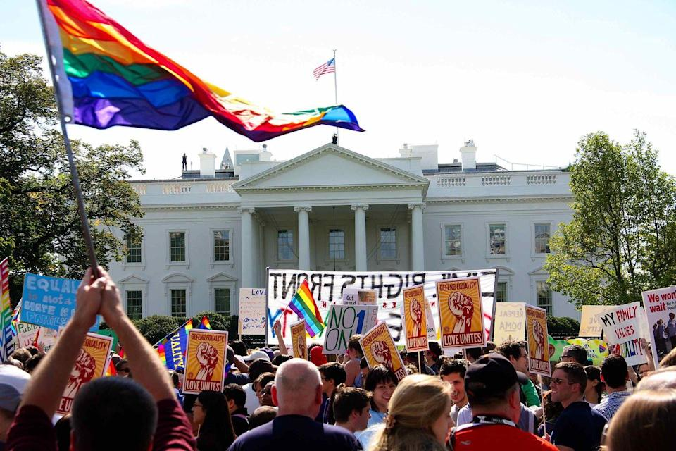 """<p>Members of the LGBTQ+ community and allies marched through Washington, D.C., asking President Obama to repeal """"Don't Ask Don't Tell,"""" a ban on gays and lesbians in the military, and to advocate for equal rights. Many protesters chose to demonstrate after being outraged by California's Proposition 8, which overturned marriage equality in the state. </p>"""
