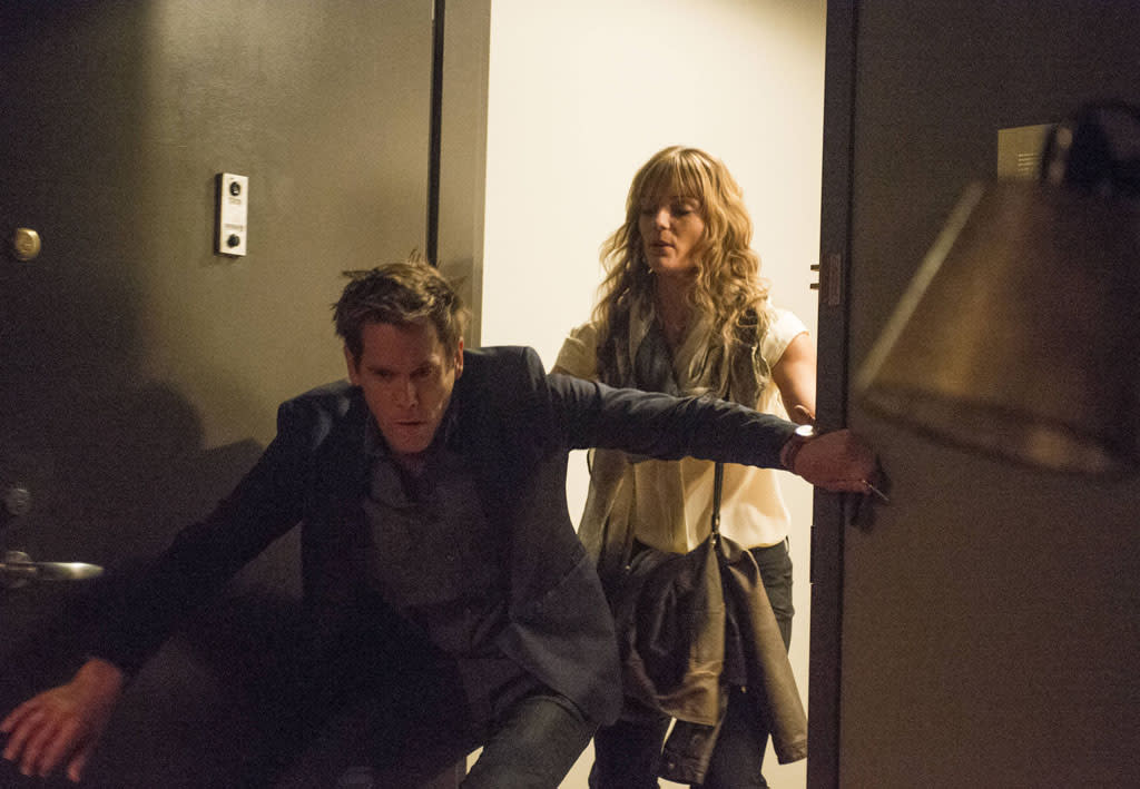 """In a flashback scene, Ryan's (Kevin Bacon) sister Jenny (guest star Susan Misner), takes care of him after he drinks too much in the """"Mad Love"""" episode of """"The Following."""""""
