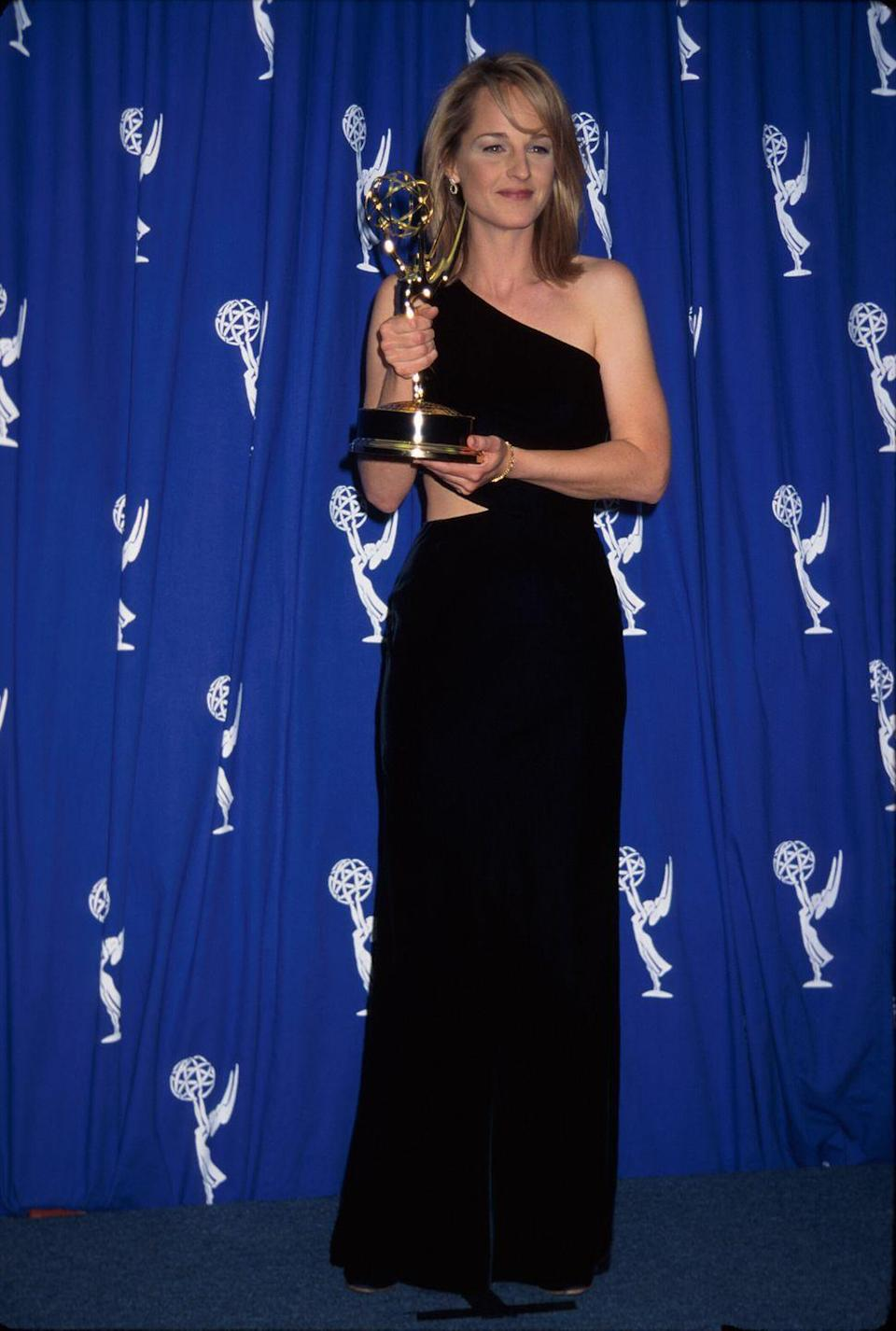 <p>Helen won Best Lead Actress in a Comedy Series for <em>Mad About You </em>this year, and posed with her award in a one-shoulder black dress with a cutout at the side. </p>