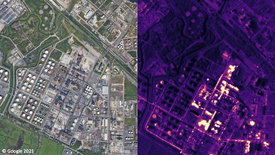 An aerial image side by side with a thermal image of the same area.
