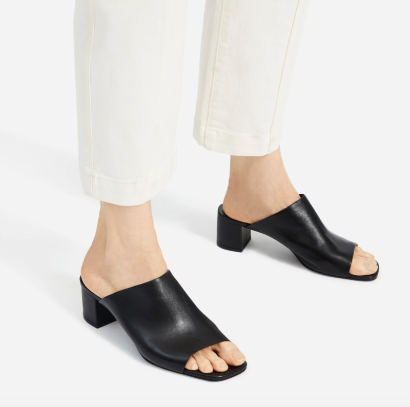 The Leather Mule in Black.