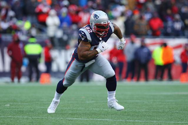 James Harrison in action for the Patriots. (Getty)