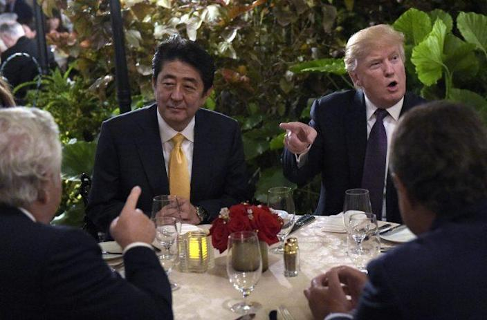 Japanese Prime Minister Shinzo Abe and President Trump at Mar-a-Lago, Feb. 10, 2017. (Photo: Susan Walsh/AP)