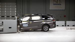 The 2021 Toyota Sienna, a TOP SAFETY PICK+, in the driver-side small overlap crash test.