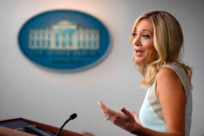White House Press Secretary Kayleigh McEnany speaks during the press briefing at the White House: AFP via Getty Images