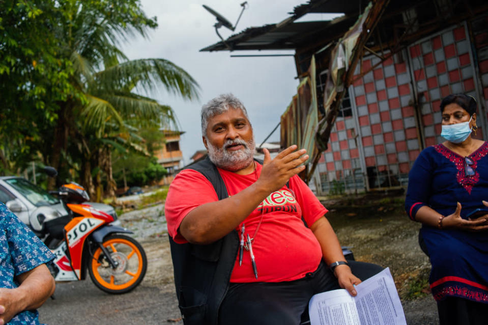 Parti Sosialis Malaysia (PSM) secretary-general S. Arutchelvan speaks during a press conference on Kg Manickam Bangi Lama shops destroyed in Bangi Old Town, April 7, 2021. — Picture by Shafwan Zaidon