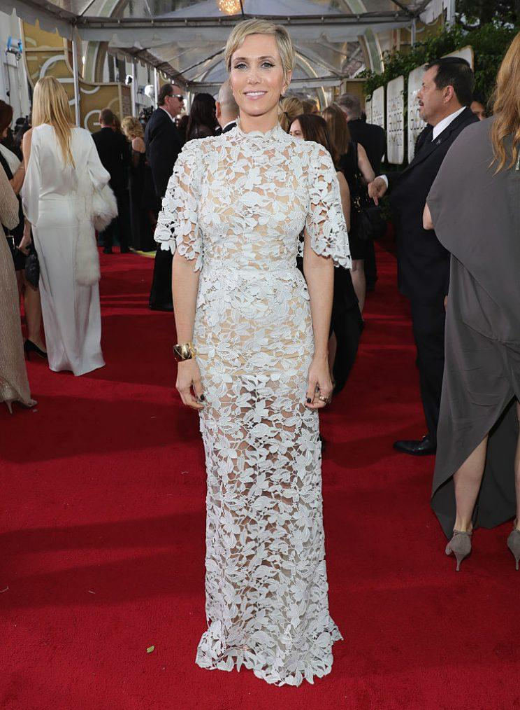 Kristen Wiig in Reem Acra. (Photo: Getty Images)