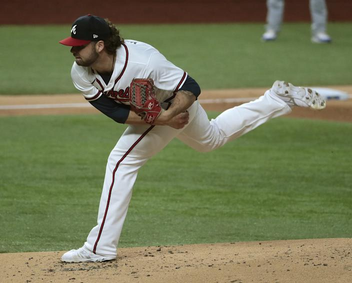 Atlanta Braves starting pitcher Bryse Wilson delivers during the second inning of Game 4 of the NLCS.