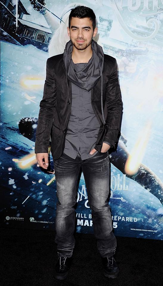 """<a href=""""http://movies.yahoo.com/movie/contributor/1809692473"""">Joe Jonas</a> at the Los Angeles premiere of <a href=""""http://movies.yahoo.com/movie/1810133258/info"""">Sucker Punch</a> on March 23, 2011."""