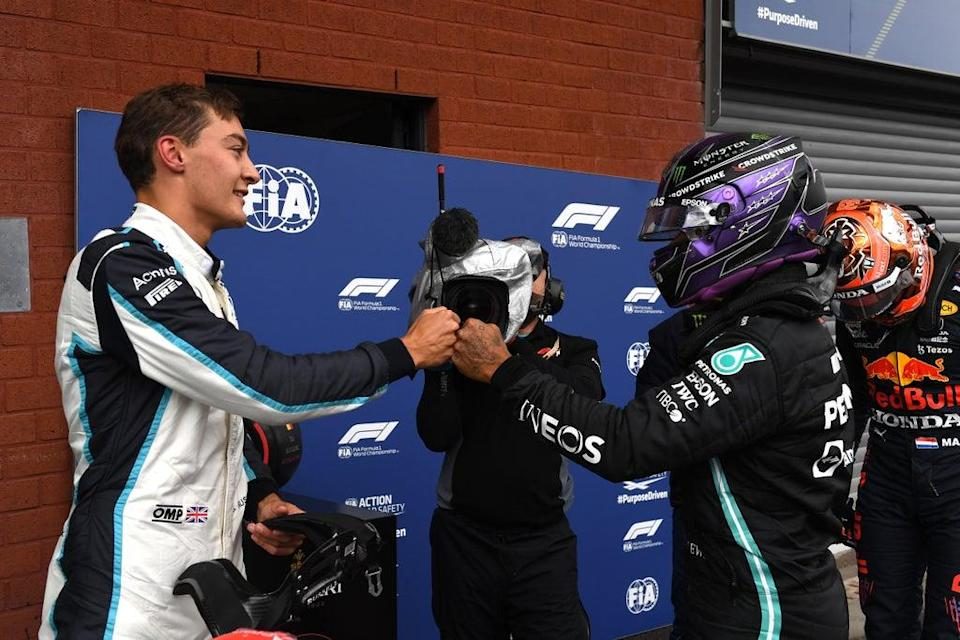 George Russell (left) will drive alongside Lewis Hamilton at Mercedes next year  (Getty Images)