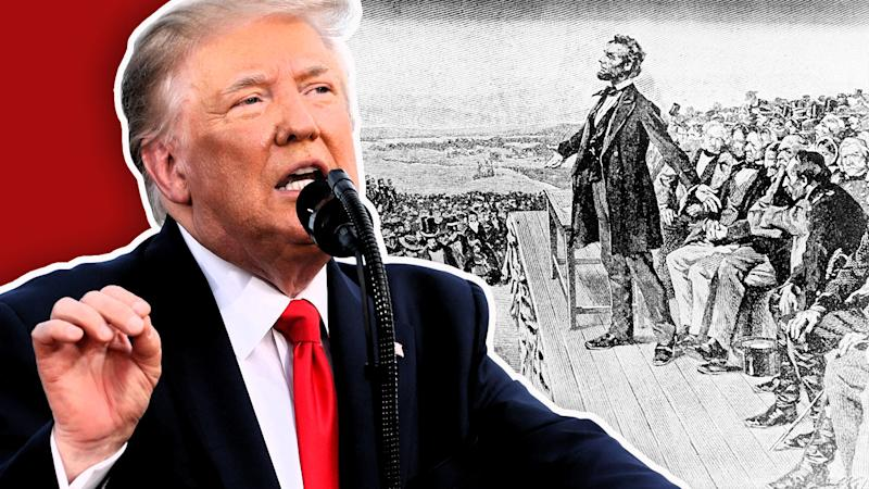 President Trump; and, President Lincoln delivers the Gettysburg Address in 1863. (Photo illustration: Yahoo News; photos: AP)