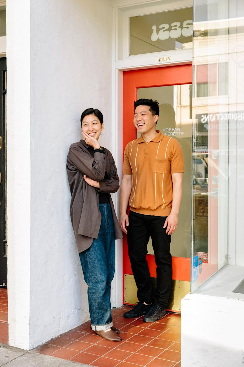 Clara Lee and Eddo Kim, co-owners of Queens, a Korean market in San Francisco