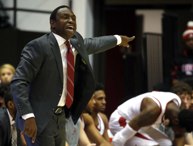 Alabama head coach Avery Johnson signals to players during the first half of an NCAA college basketball game against Texas-Arlington, Tuesday, Nov. 21, 2017, in Tuscaloosa, Ala. (AP Photo/Butch Dill)