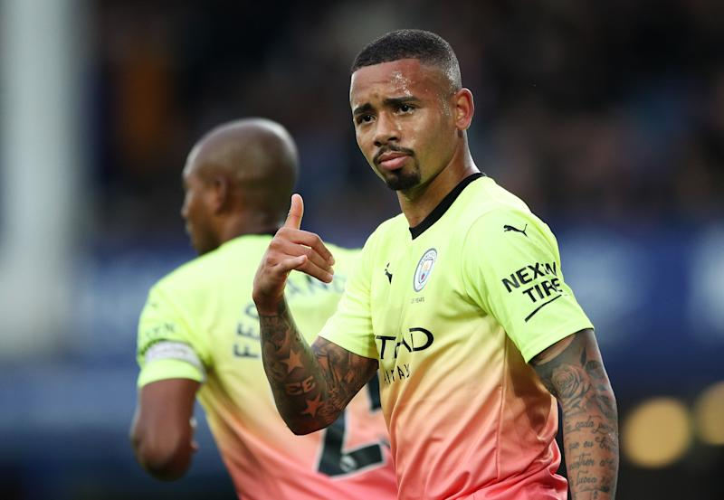 LIVERPOOL, ENGLAND - SEPTEMBER 28: Gabriel Jesus of Manchester City celebrates after scoring his team's first goal during the Premier League match between Everton FC and Manchester City at Goodison Park on September 28, 2019 in Liverpool, United Kingdom. (Photo by Matt McNulty - Manchester City/Manchester City FC via Getty Images)