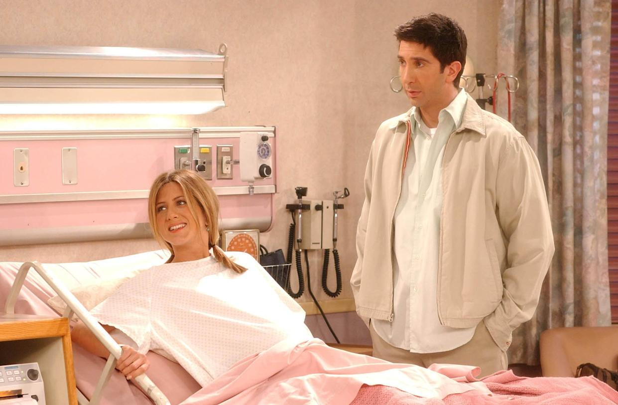 UNDATED PHOTO:  Actors Jennifer Aniston (L) and David Schwimmer are shown in a scene from the NBC series