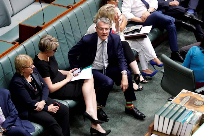 Labour Shadow Attorney General, Mark Dreyfus, wears rainbow socks in the House of Representatives in support of same-sex marriage (AFP/Getty Images)