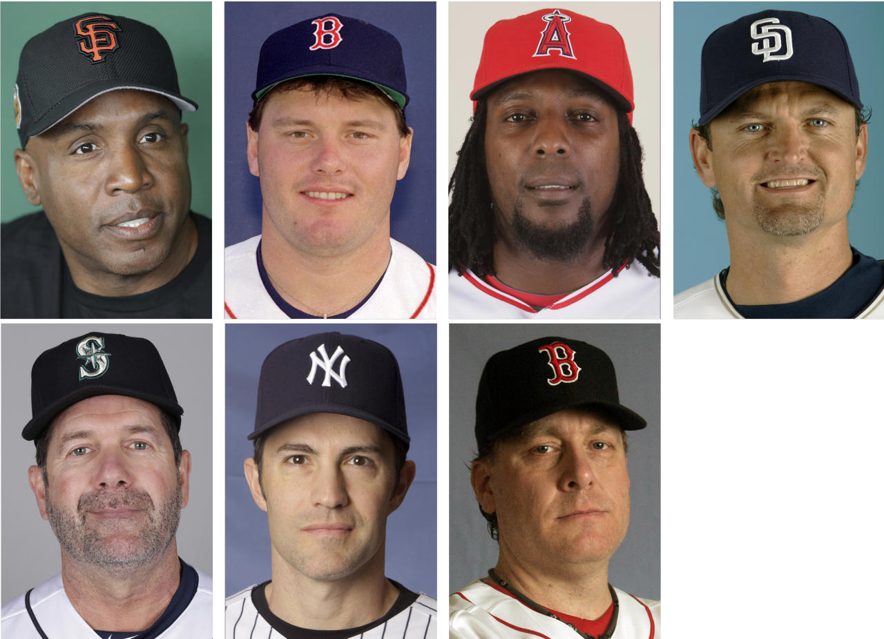 FILE - Top row from left are file photos showing San Francisco Giants' Barry Bonds in 2017; Boston Red Sox' Roger Clemens in 1987; Los Angeles Angels' Vladimir Guerrero in 2009 and San Diego Padres' Trevor Hoffman in 2008. Bottom row from left are Seattle Mariners' Edgar Martinez in 2017; New York Yankees' Mike Mussina in 2008 and Boston Red Sox' Curt Schilling in 2008. Trevor Hoffman, who fell five votes short last year on the Baseball Writers' Association of America ballot for baseball's Hall of Fame, heads holdovers that include Vladimir Guerrero, Edgar Martinez, Roger Clemens, Barry Bonds, Mike Mussina and Curt Schilling. (AP Photo/File)