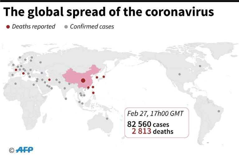 Countries and territories with confirmed cases of the new coronavirus as of February 27 at 18:00 GMT
