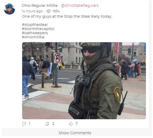 A social media image federal prosecutors say shows Donovan Crowl at the January 6 Capitol riot. Crowl, who is charged, is allegedly linked to an Ohio militia group. / Credit: FBI