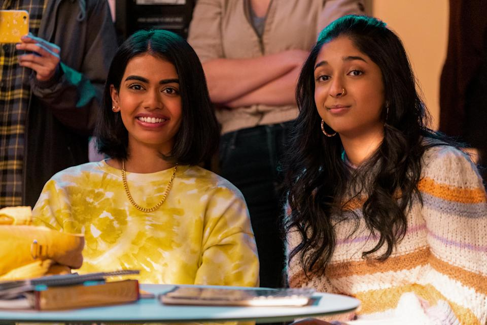 NEVER HAVE I EVER (L to R) MEGAN SURI as ANEESA and MAITREYI RAMAKRISHNAN as DEVI VISHWAKUMAR in episode 204 of NEVER HAVE I EVER Cr. ISABELLA B. VOSMIKOVA/NETFLIX © 2021 - Credit: ISABELLA B. VOSMIKOVA/NETFLIX