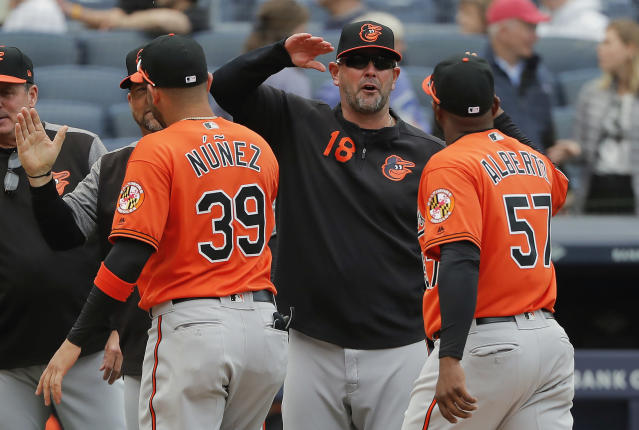 FILE - In this Saturday, March 30, 2019 file photo,Baltimore Orioles manager Brandon Hyde (18) congratulates players after they defeated the New York Yankees in a baseball game in New York. The win was Hyde's first as a major league manager. There might come a time when Brandon Hyde wakes up in the morning, grabs a newspaper and checks out the standings to see where the Baltimore Orioles stand. For now, the rookie manager simply cant bear to look. The rebuilding Orioles limped into the All-Star break with a major league worst 27-62 record. (AP Photo/Julie Jacobson, File)