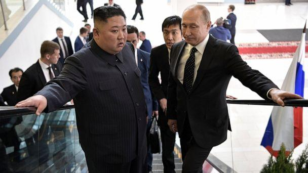 PHOTO: Russian President Vladimir Putin, right, and North Korea's leader Kim Jong Un take an escalator heading to the talks in Vladivostok, Russia, Thursday, April 25, 2019. (Alexei Nikolsky, Sputnik, Kremlin Pool Photo via AP)
