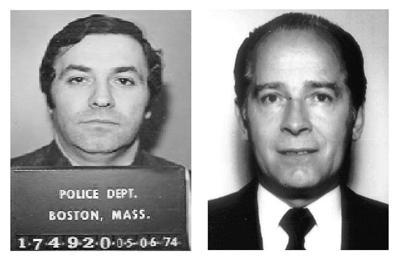 "This pair of file booking photos shows Stephen ""The Rifleman"" Flemmi, left, in 1974 from the Boston Police Department, and James ""Whitey"" Bulger, right, in 1984 from the FBI. Flemmi, Bulger's alleged former partner serving a life sentence after pleading guilty to 10 killings, is expected to testify in Bulger's trial Thursday, July 18, 2013 in federal court in Boston. Bulger, now 83, is accused in a 32-count racketeering indictment and in playing a role in 19 killings in the 1970s and '80s while he allegedly led the Winter Hill Gang in Boston. (AP Photos/File)"