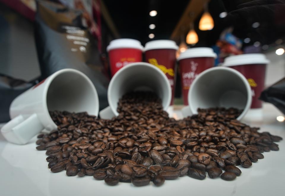 Coffee beans seen in the window of  Insomnia Coffee Company in Dublin's city centre during level 5 COVID-19 lockdown.  On Saturday, March 27, 2021, in Dublin, Ireland. (Photo by Artur Widak/NurPhoto via Getty Images)