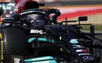 Mercedes driver Lewis Hamilton of Britain steers his car during the second free practice at the Hungaroring racetrack in Mogyorod, Hungary, Friday, July 30, 2021. The Hungarian Formula One Grand Prix will be held on Sunday. (AP Photo/Darko Bandic)