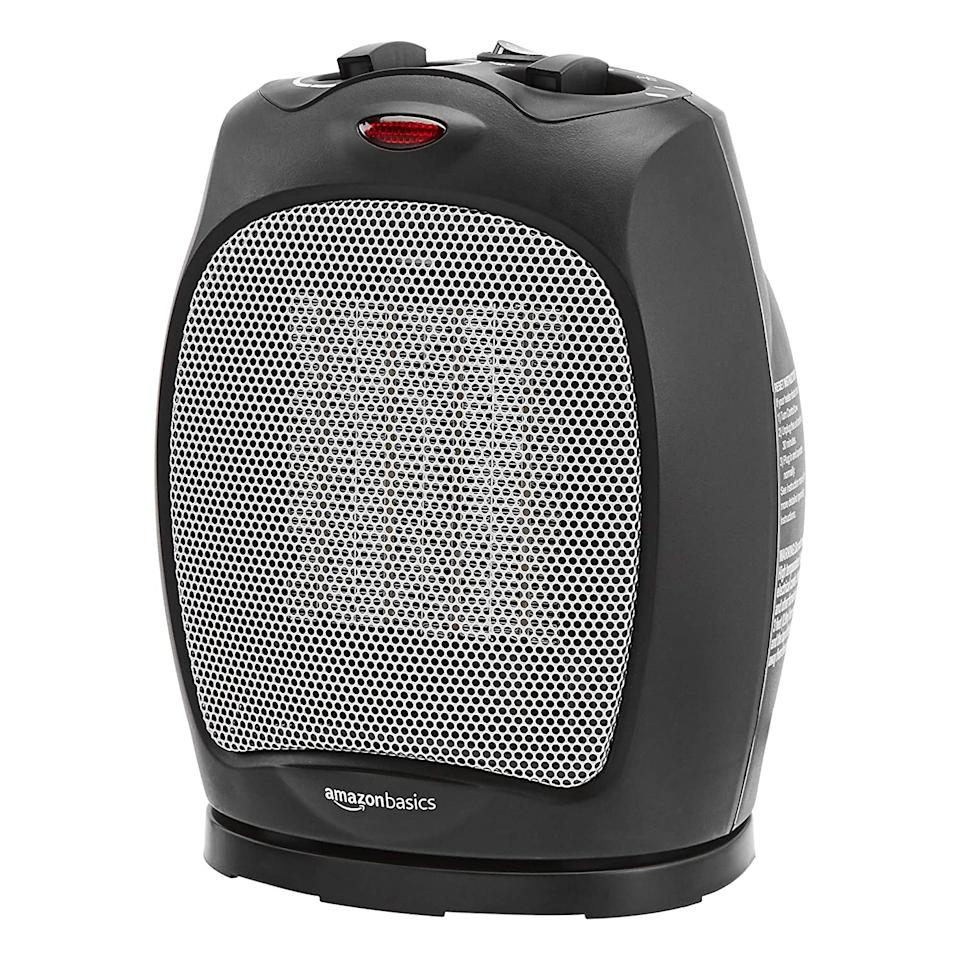 """<br><br><strong>AmazonBasics</strong> 1500W Oscillating Ceramic Heater, $, available at <a href=""""https://www.amazon.com/AmazonBasics-Oscillating-Ceramic-Adjustable-Thermostat/dp/B07V4FNHCD?ref_=Oct_DLandingS_D_f6166a71_66&smid=ATVPDKIKX0DER"""" rel=""""nofollow noopener"""" target=""""_blank"""" data-ylk=""""slk:Amazon"""" class=""""link rapid-noclick-resp"""">Amazon</a>"""