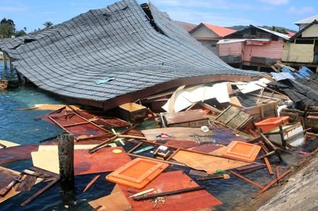 Damaged traditional market building is pictured following earthquake in Ambon