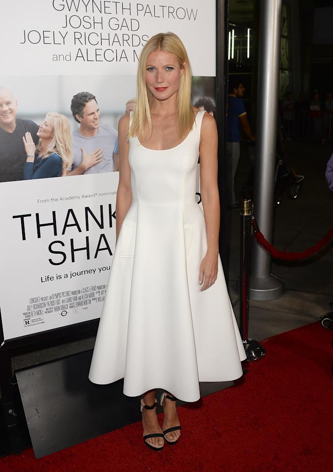 HOLLYWOOD, CA - SEPTEMBER 16: Actress Gwyneth Paltrow attends the premiere of Roadside Attractions' 'Thanks For Sharing' at ArcLight Cinemas on September 16, 2013 in Hollywood, California. (Photo by Jason Merritt/Getty Images)