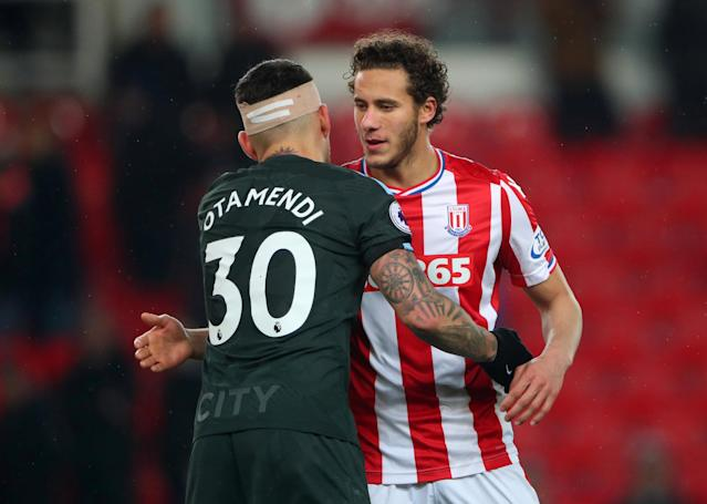 "Soccer Football - Premier League - Stoke City vs Manchester City - bet365 Stadium, Stoke-on-Trent, Britain - March 12, 2018 Manchester City's Nicolas Otamendi and Stoke City's Ramadan Sobhi after the match REUTERS/Hannah McKay EDITORIAL USE ONLY. No use with unauthorized audio, video, data, fixture lists, club/league logos or ""live"" services. Online in-match use limited to 75 images, no video emulation. No use in betting, games or single club/league/player publications. Please contact your account representative for further details."