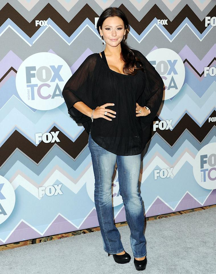 Jenni 'Jwoww' Farley arrives at the 2013 Winter TCA FOX All-Star Party at The Langham Huntington Hotel and Spa on January 8, 2013 in Pasadena, California.